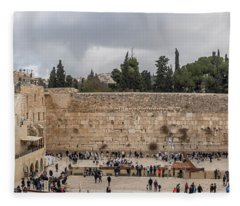 Panoramic View Of The Wailing Wall In The Old City Of Jerusalem Fleece Blanket