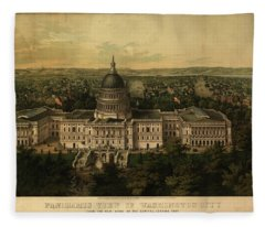 Panoramic View Of Washington City From The New Dome Of The Capitol, Looking East Fleece Blanket