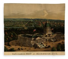 Panoramic View Of Washington City From The New Dome Of The Capitol, Looking West Fleece Blanket