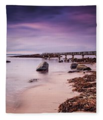 Pans Rocks Beach Fleece Blanket