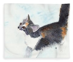 Calico Barn Cat Watercolor Fleece Blanket