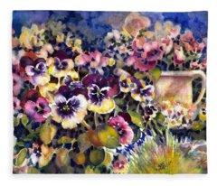 Pansy Garden Fleece Blanket