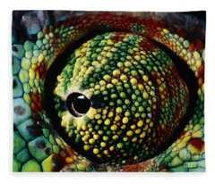 Panther Chameleon Eye Fleece Blanket