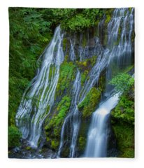 Panther Creek Falls Summer Waterfall 1 Fleece Blanket