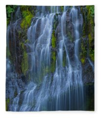 Panther Creek Falls Summer Waterfall -close 2 Fleece Blanket