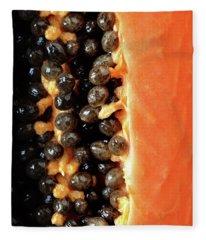 Papaya Fruit Halved Macro Fleece Blanket