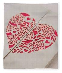 Paper Cut Heart Fleece Blanket