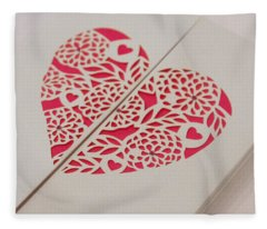 Paper Cut Heart Fleece Blanket