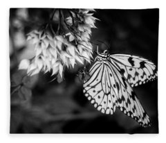 Paper Kite In Black And White Fleece Blanket