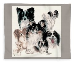 Fleece Blanket featuring the mixed media Papillon And Phalene Collage by Barbara Keith