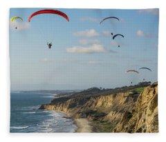 Paragliders At Torrey Pines Gliderport Over Black's Beach Fleece Blanket