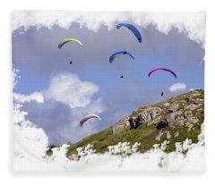 Paragliding Over Sennen Cove On Transparent Background Fleece Blanket