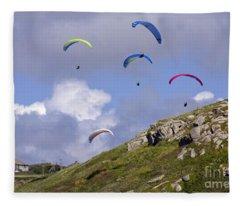 Paragliding Over Sennen Cove Fleece Blanket