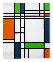Parallel Lines Composition With Blue Green And Orange In Opposition Fleece Blanket