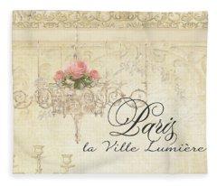 Parchment Paris - City Of Light Rose Chandelier W Plaster Walls Fleece Blanket
