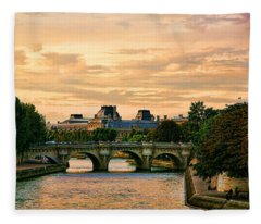 Paris At Sunset The Seine River  Fleece Blanket