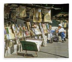 Paris Bookseller Stall Fleece Blanket