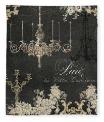 Paris - City Of Light Chandelier Candelabra Chalk Fleece Blanket