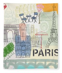 Paris Cityscape- Art By Linda Woods Fleece Blanket