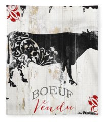 Paris Farm Sign Cow Fleece Blanket
