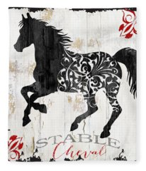 Paris Farm Sign Horse Fleece Blanket