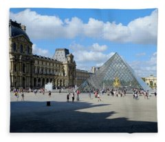 Paris Louvre And Pyramid Fleece Blanket