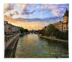 Paris The Seine River C Fleece Blanket