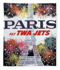 Paris - Twa Jets - Trans World Airlines - Eiffel Tower - Retro Travel Poster - Vintage Poster Fleece Blanket