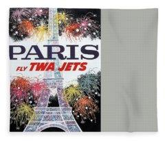 Paris - Twa Jets - Trans World Airlines - Eiffel Tower - Retro Travel Poster - Vintage Poster Fleece Blanket