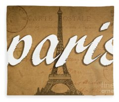 Paris Vintage Sign With Eiffel Tower Fleece Blanket