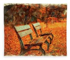 Park Bench In Fall Fleece Blanket