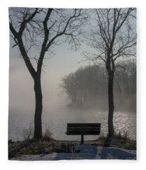 Park Bench In Morning Fog Fleece Blanket