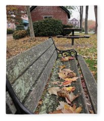 Park Bench With Maple Leaves In Autumn Fleece Blanket