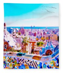 Park Guell Watercolor Painting Fleece Blanket
