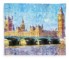 Parliment From Westminister Bridge Fleece Blanket
