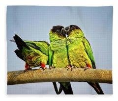 Parrots In South Florida Fleece Blanket