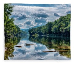 Partially Cloudy Gauley River Fleece Blanket