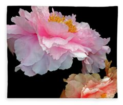 Pas De Deux Glowing Peonies Fleece Blanket