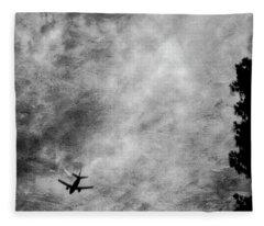 Passenger Jet Airliner Cloudy Sky Over Burbank In Bw Fleece Blanket