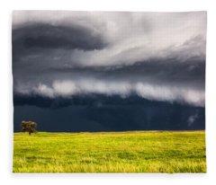 Passing By - Storm Passes By Lone Tree In Western Nebraska Fleece Blanket