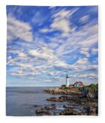 Passing Clouds At Portland Head Light Fleece Blanket