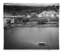 Passing Storm In Chattanooga Black And White Fleece Blanket