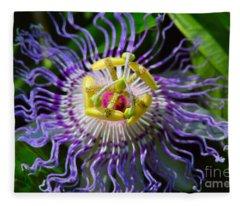 Passionflower Spiritual Art Fleece Blanket