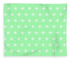 Pastel Green Geometric Flowers And Florals Isosceles Triangle Fleece Blanket