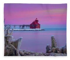 Pastel Lighthouse Fleece Blanket