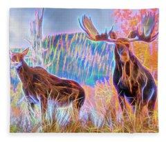 Pastel Moose Couple Fleece Blanket