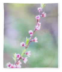 Pastel Painted Peach Blossoms Fleece Blanket
