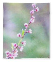 Pastel Painted Peach Blossoms Fleece Blanket