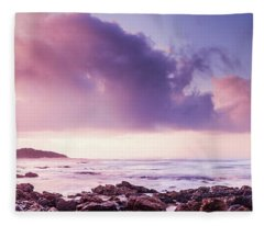 Pastel Purple Seashore Fleece Blanket