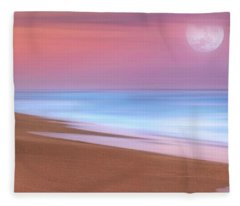 Pastel Sunset And Moonrise Over Hutchinson Island Beach, Florida. Fleece Blanket